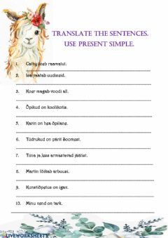Interactive worksheet Present simple translation exercise