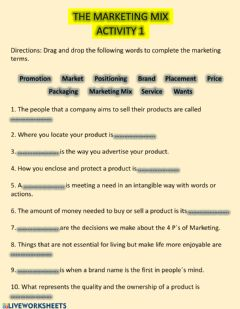 Interactive worksheet THE MARKETING MIX - Act 1