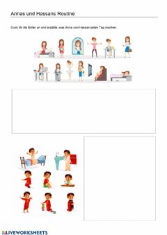 Interactive worksheet Annas und Hassans Routine