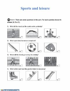 Interactive worksheet Listening: sports and leisure
