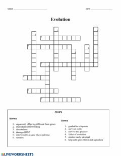 Ficha interactiva Evolution Vocabulary Crossword