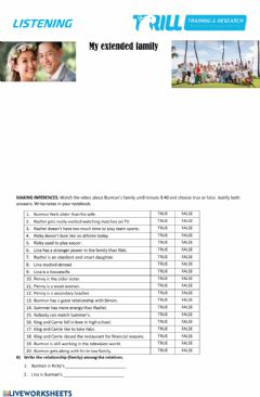 Interactive worksheet My extended family