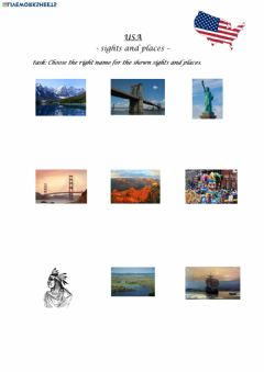 Interactive worksheet USA sights and places