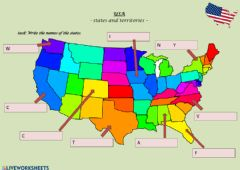 Interactive worksheet USA - states and territories