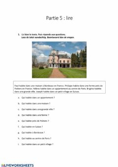 Interactive worksheet Partie 5: lire