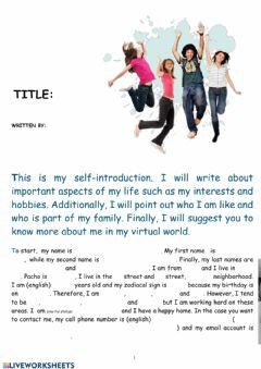 Interactive worksheet Complete self intro