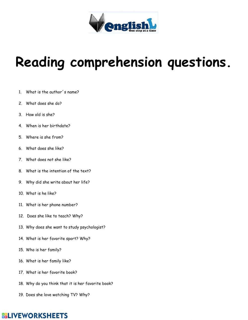 - Reading Comprehension Questions Interactive Worksheet