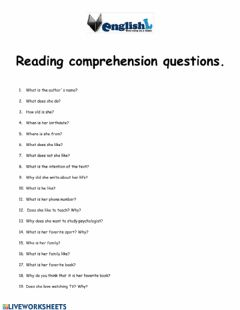 Interactive worksheet Reading comprehension questions