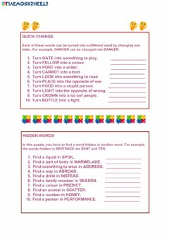 Interactive worksheet Vocabulary puzzles
