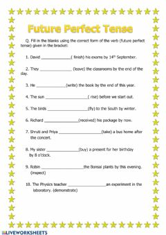 Interactive worksheet Future Perfect Tense