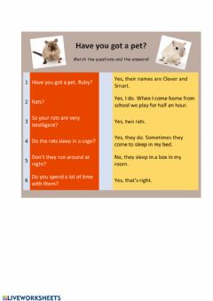 Interactive worksheet Have you got a pet?