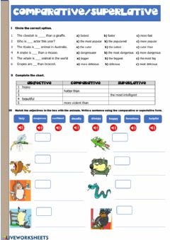 Interactive worksheet Comparative and superlative