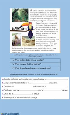 Interactive worksheet Reading habitats
