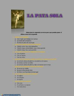 Interactive worksheet La pata sola