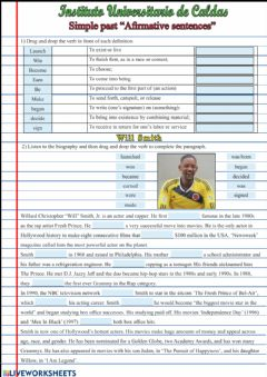 Interactive worksheet Past simple biography