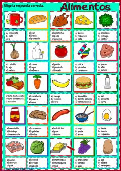 Interactive worksheet Alimentos - elección multiple