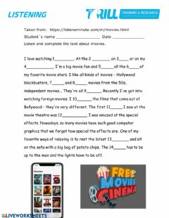 Movies and Tv worksheet preview