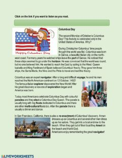 Interactive worksheet Columbus Day