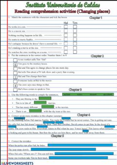 Interactive worksheet Reading comprehension -Changing places-