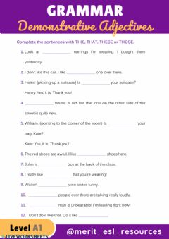 Interactive worksheet Demonstrative Adjectives