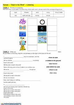 Interactive worksheet Kansas - -Dust in the Wind-