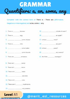 Interactive worksheet There is - There are + a, an, some, any