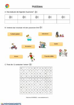 Interactive worksheet Hobbies