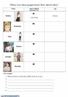 Interactive worksheet Dates of Birth and Age 2