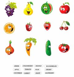 Interactive worksheet Fruits'n'Vegetables Matching