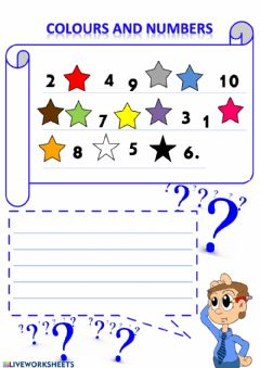 Interactive worksheet Colours and numbers (1-10)