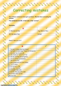 Interactive worksheet Correcting mistakes (Families)