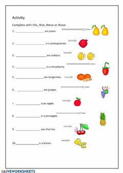 Interactive worksheet Vocabulary - fruit