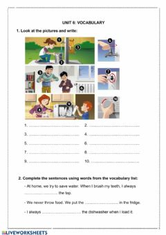 Interactive worksheet Vocab UNIT 1