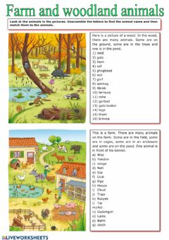 Interactive worksheet Woodland animals- farm animals