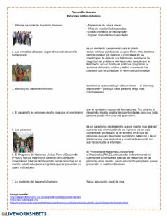 Interactive worksheet Desarrollo humano
