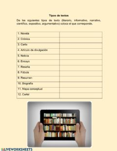 Interactive worksheet Tipos de texto