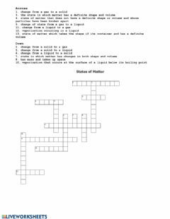 Ficha interactiva States of Matter Crossword