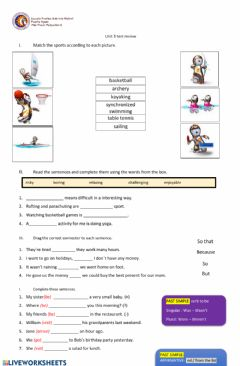 Interactive worksheet Unit 3 7th grade