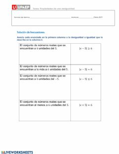 Interactive worksheet Desigualdades 2