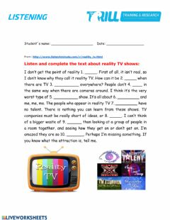 Interactive worksheet Reality TV shows