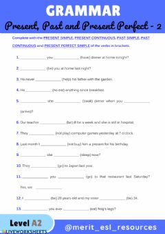 Interactive worksheet Present Simple, Present Continuous, Past Simple, Past Continuous and Present Perfect Simple - 2