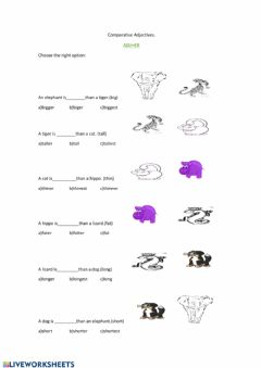 Interactive worksheet Comparatives Adjectives