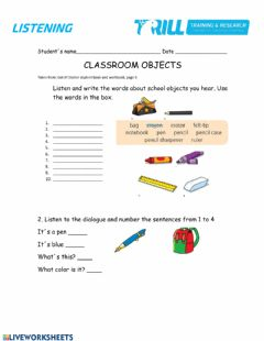 Interactive worksheet School objects and classroom language