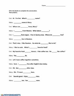 Hi.  What's your name? worksheet preview