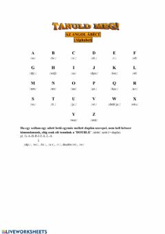 Interactive worksheet ABC, Spelling