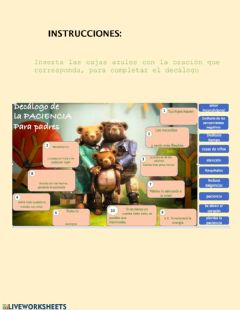 Interactive worksheet Decálogo de la paciencia
