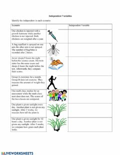 Interactive worksheet Identifying Independent Variables