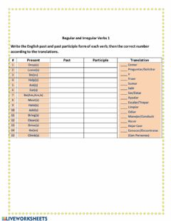 Interactive worksheet Regular and Irregular verbs 1