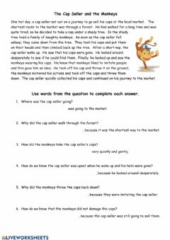 Interactive worksheet The Cap Seller and the Monkeys