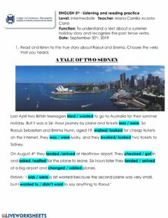 Interactive worksheet Travel story